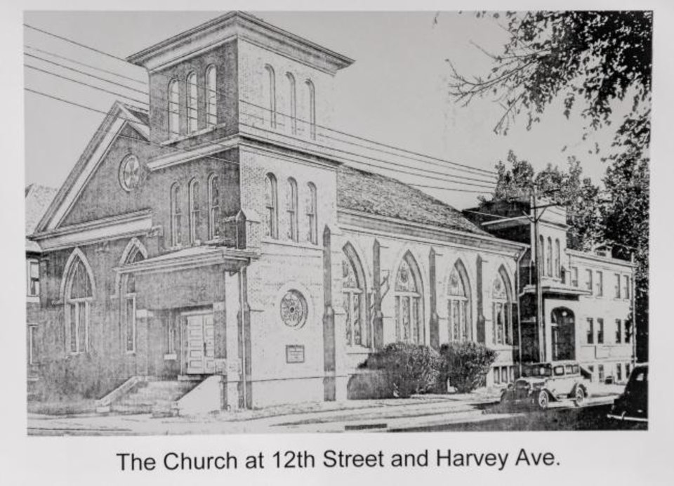 Photo -  This photo copy shows a drawing of Central Presbyterian Church when it was located at NW 12 and Harvey Avenue in downtown Oklahoma City.