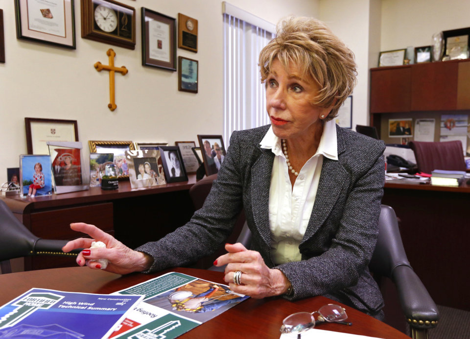 Photo -  Ann Felton Gilliland, chairman and CEO of Central Oklahoma Habitat for Humanity, talks about 2016 donations and needs for 2017 in her office at 5005 S Interstate 35 Service Road. [PHOTO BY STEVE SISNEY, THE OKLAHOMAN]