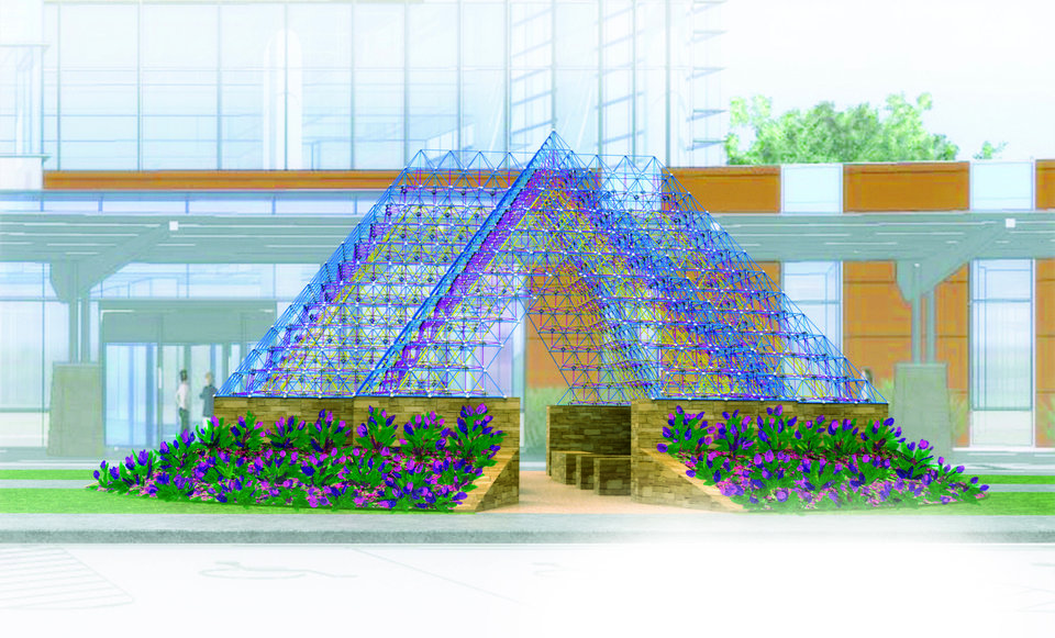 "Photo -  An artist's rendering of ""Sanctuary"" shows the three-dimensional crystal pyramid designed by Brower Hatcher to adorn the outside of the new Moore Medical Center near its entryway. PHOTO PROVIDED   Provided -"