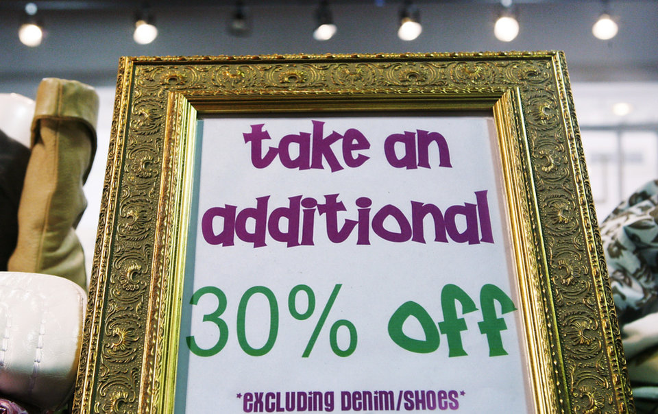 Sales are already in effect at many stores. Stores such as Lucca in Penn Square Mall, have posted signs alerting shoppers to the sales. .  BY JIM BECKEL, THE OKLAHOMAN
