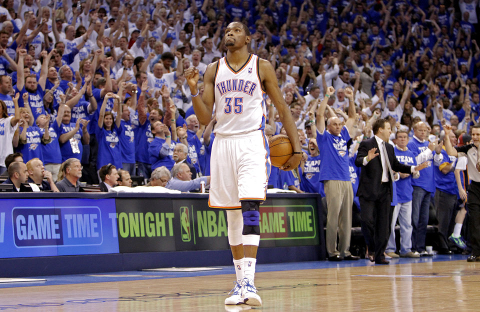 Oklahoma City's Kevin Durant pumps his fist in the final seconds of the 77-75 win over the Lakers during Game 2 in the second round of the NBA playoffs between the Oklahoma City Thunder and the L.A. Lakers at Chesapeake Energy Arena on Wednesday,  May 16, 2012, in Oklahoma City, Oklahoma. Photo by Chris Landsberger, The Oklahoman