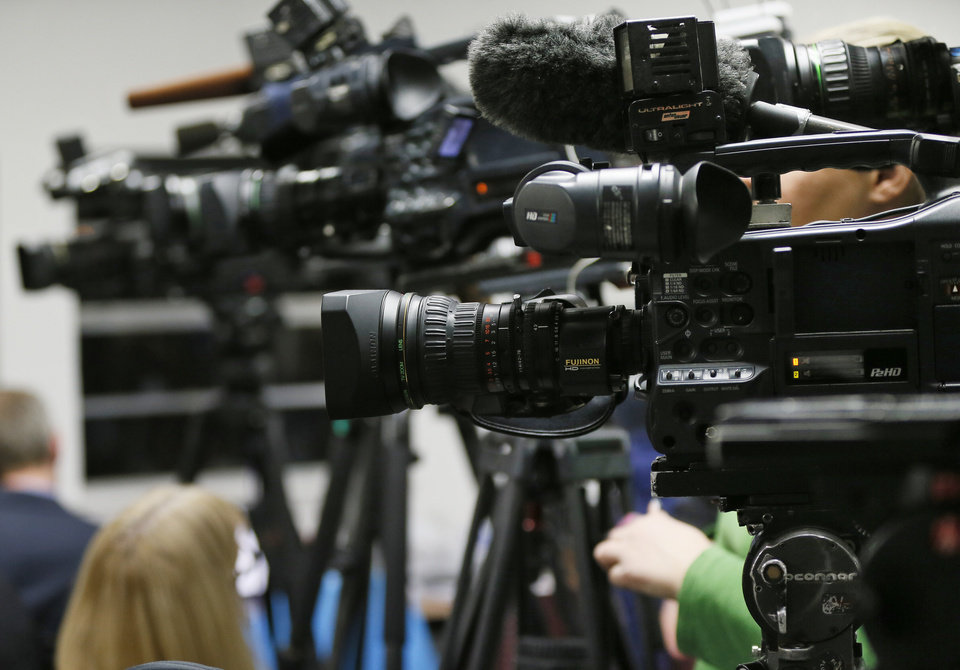 Photo - Television cameras are set up waiting to record the statements of media witnesses to the execution of Charles Warner at the Oklahoma State Penitentiary in McAlester, Okla., Thursday, Jan. 15, 2015. Charles Warner is the first inmate to be executed in Oklahoma since the bungled execution of Clayton Lockett on April 29, 2014. Photo by Nate Billings, The Oklahoman