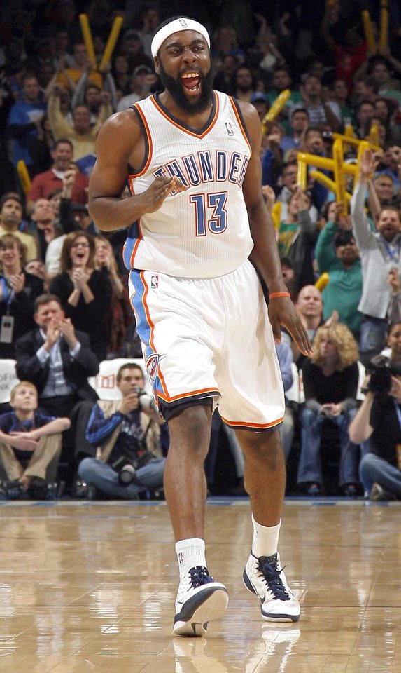 Photo - Oklahoma City's James Harden (13) celebrates a 3-pointer during the NBA game between the Oklahoma City Thunder and the Boston Celtics, Sunday, Nov. 7, 2010, at the Oklahoma City Arena. Photo by Sarah Phipps, The Oklahoman