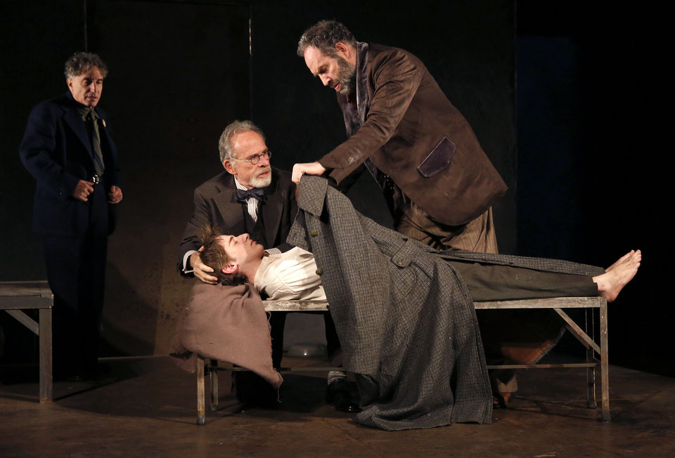 Photo -   This theater image released by The Public Theater shows, from left, Chip Zien, Ron Rifkin, Noah Robbins, and Daniel Oreskes in