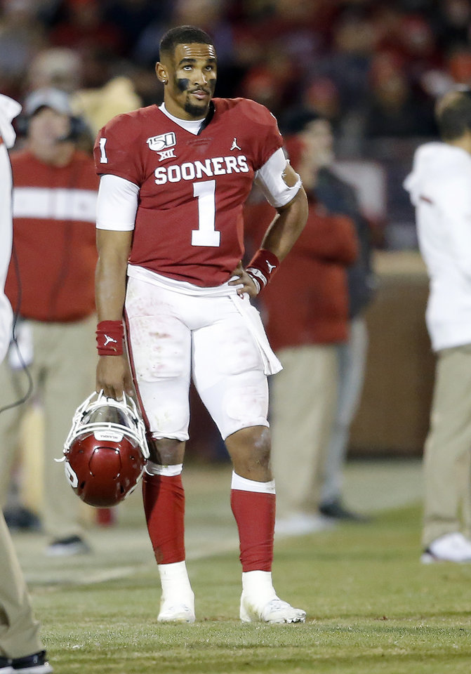 Photo - Oklahoma's Jalen Hurts (1) reacts to his fumble in the fourth quarter during an NCAA football game between the University of Oklahoma Sooners (OU) and the TCU Horned Frogs at Gaylord Family-Oklahoma Memorial Stadium in Norman, Okla., Saturday, Nov. 23, 2019. OU won 28-24. [Sarah Phipps/The Oklahoman]