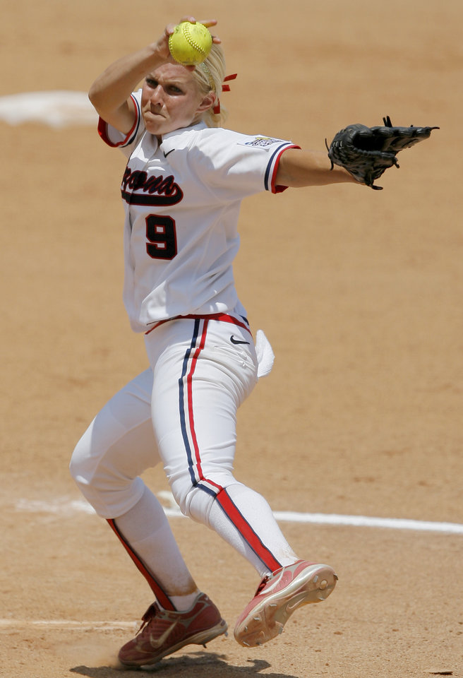 Arizona's Taryne Mowatt pitches during the Women's College World Series game between Alabama and Arizona at ASA Hall of Fame Stadium in Oklahoma City, Saturday, May 31, 2008. BY BRYAN TERRY, THE OKLAHOMAN