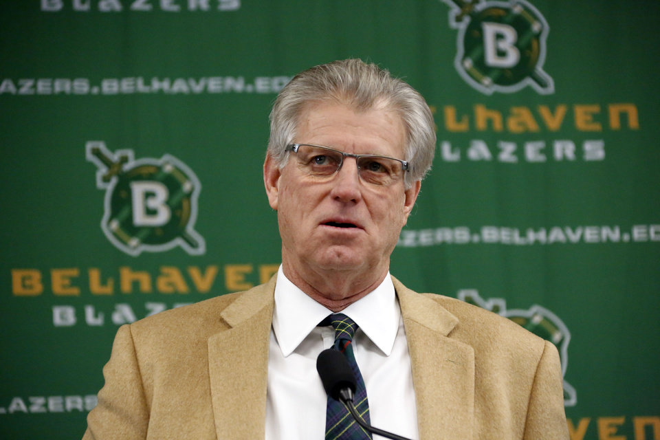 Photo - New Belhaven University football coach Hal Mumme speaks about his expectations as coach after he was introduced during an NAIA college football news conference in Jackson, Miss., Tuesday, Jan. 21, 2014. Mumme, a former head coach at a number of programs including Division 1 schools, Kentucky and New Mexico State University, most recently was passing game coordinator at SMU. (AP Photo/Rogelio V. Solis)