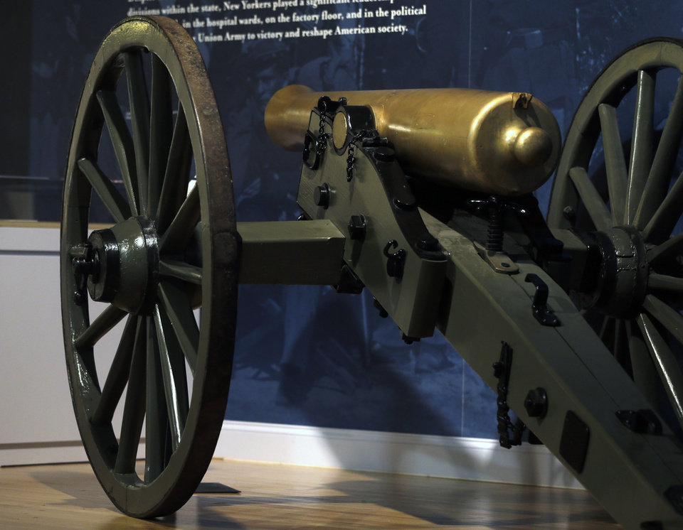 Photo - In this Wednesday, June 26, 2013 photo, a 12-pound Napoleon field gun sits on display at the New York State Military Museum, in Saratoga Springs, N.Y. The exhibit, titled