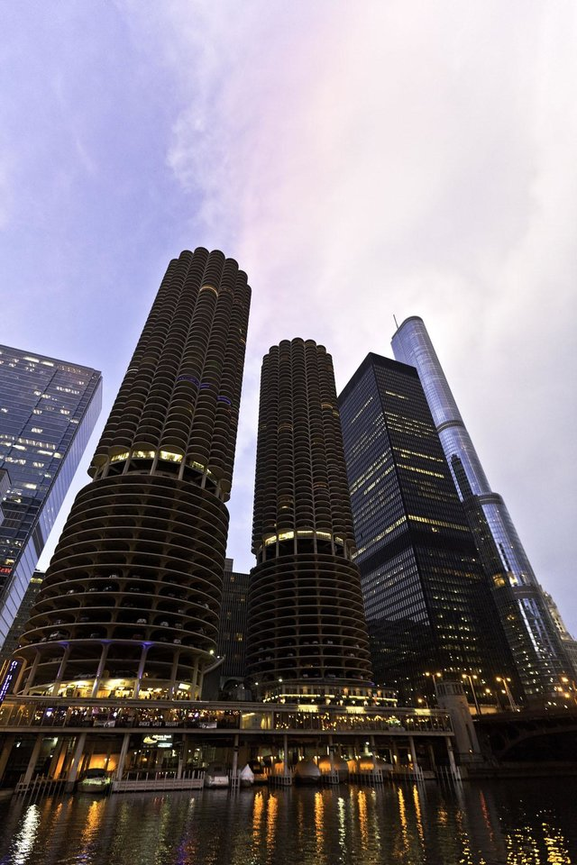 Photo -  From the Chicago River, Marina Towers offer a sampling of that city's remarkable skyline. Photo courtesy of Choose Chicago.
