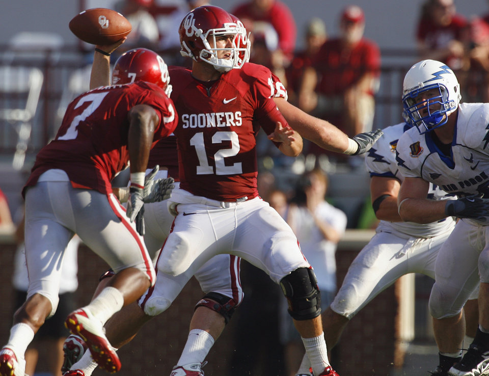Landry Jones throws late in the second half of the college football game where the University of Oklahoma Sooners (OU) defeated the Air Force Falcons 27-24 at Gaylord Family-Oklahoma Memorial Stadium on Saturday, Sept. 18, 2010, in Norman, Okla.   Photo by Steve Sisney, The Oklahoman