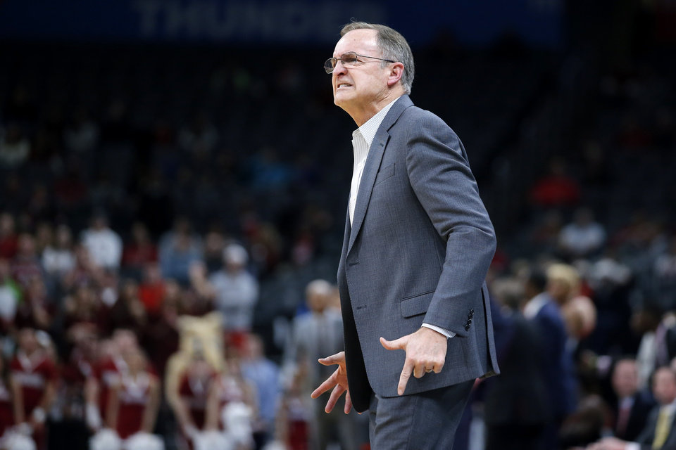 Photo - Oklahoma coach Lon Kruger shouts during a men's NCAA college basketball game between the University of Oklahoma Sooners (OU) and the Texas Tech Red Raiders at Chesapeake Energy Arena in Oklahoma City, Tuesday, Feb. 25, 2020. Oklahoma won 65-51. [Bryan Terry/The Oklahoman]