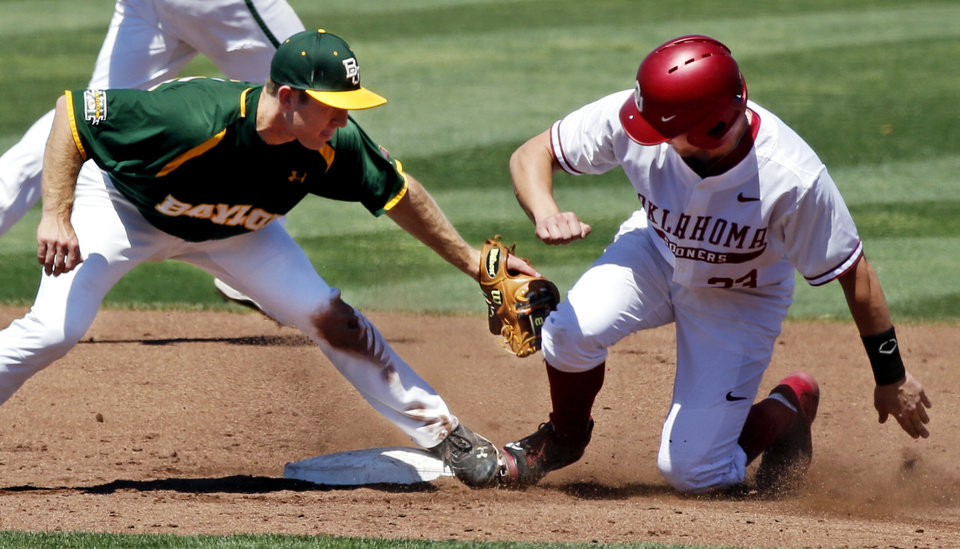 Oklahoma's Kolbey Carpenter (23) is safe beating the tag of Baylor's Hayden Ross (45) as the University of Oklahoma Sooner (OU) baseball team plays the Baylor Bears in college baeball at L. Dale Mitchell Park on May 3, 2014 in Norman, Okla. Photo by Steve Sisney, The Oklahoman
