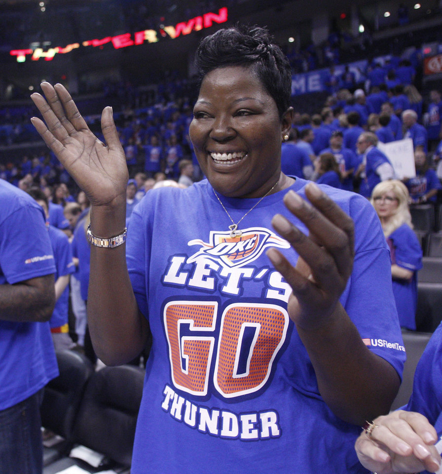 Wanda Pratt, Kevin Durant's mother, wears a 'Let's Go Thunder' T-shirt during a recent game against the L.A.Lakers. The U.S. Supreme Court, on Tuesday, refused to hear the case of Charles A. Syrus, who sued the team's ownership group claiming he had copyrighted the slogan in a song. AP Photo <strong>Sue Ogrocki - AP</strong>