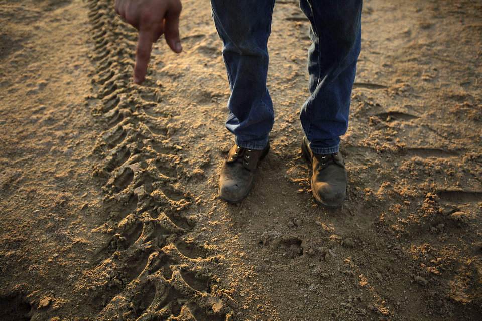 Johnny Heskett points out hog tracks during a hunting trip near Indianola, Okla., Friday, July 6, 2012. Photo by Garett Fisbeck, The Oklahoman