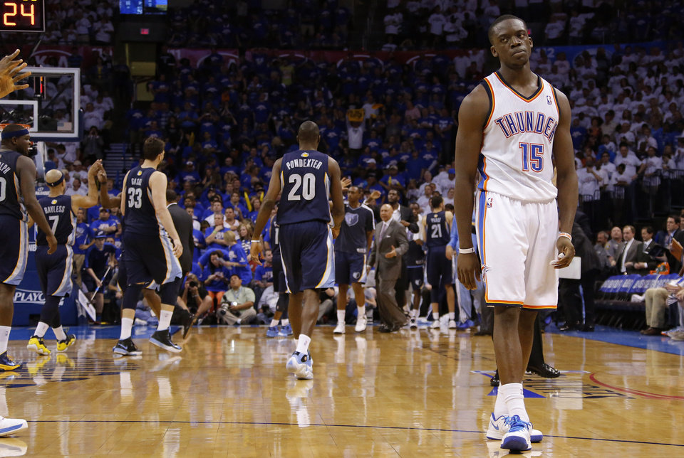Oklahoma City\'s Reggie Jackson (15) reacts during Game 2 in the second round of the NBA playoffs between the Oklahoma City Thunder and the Memphis Grizzlies at Chesapeake Energy Arena in Oklahoma City, Tuesday, May 7, 2013. Oklahoma City lost 99-93. Photo by Bryan Terry, The Oklahoman
