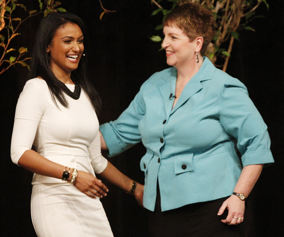 Photo -  2014 Miss America, Nina Davuluri, was reunited with her third-grade teacher, Mary Hatcher, of Homer Elementary School in Ada, after giving a speech to Stillwater third-grade students Thursday at the Wes Watkins Center. Davuluri lived part of her childhood in Ada before eventually moving to New York. Photo by KT King, for The Oklahoman.   KT King -  KT King, The Oklahoman