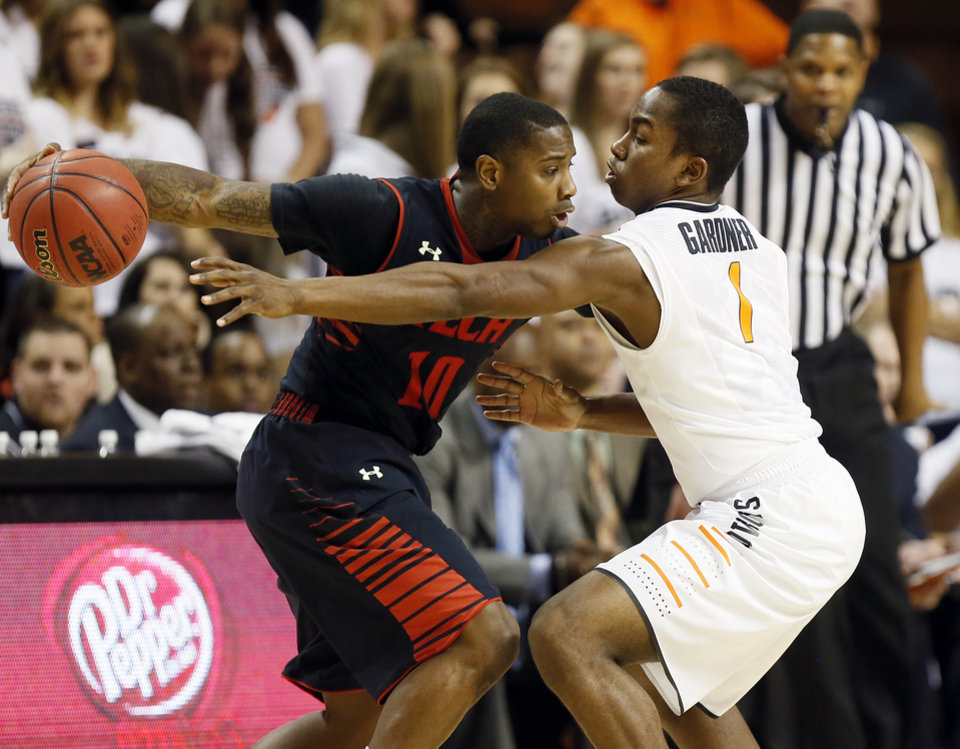 Oklahoma State\'s Kirby Gardner (1) guards Texas Tech\'s Daylen Robinson (10) during a men\'s college basketball game between Oklahoma State University (OSU) and Texas Tech at Gallagher-Iba Arena in Stillwater, Okla., Saturday, Jan. 19, 2013. Photo by Nate Billings, The Oklahoman