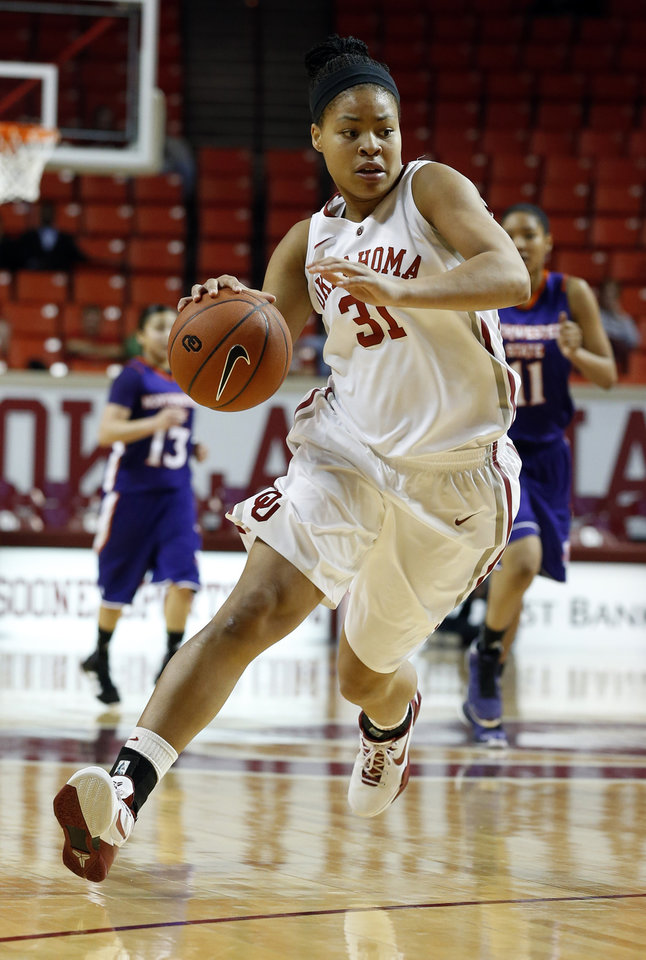Oklahoma Sooners\' Portia Durrett (31) drives to the lane during the second half as the University of Oklahoma (OU) Sooner women\'s basketball team plays the Northwestern State Lady Demons at the Lloyd Noble Center on Thursday, Nov. 29, 2012 in Norman, Okla. Photo by Steve Sisney, The Oklahoman