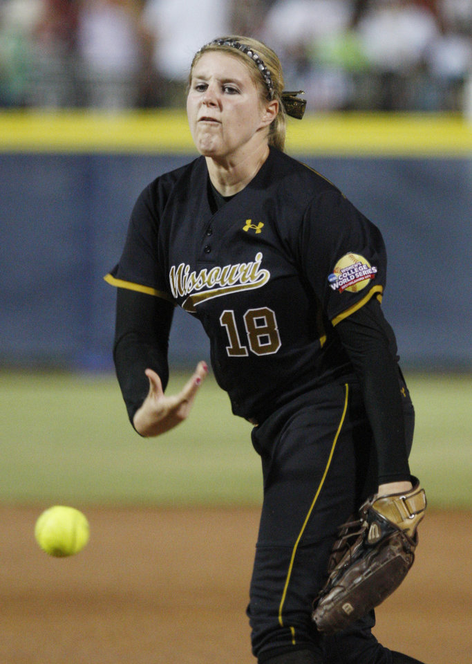 Photo - Missouri's Chelsea Thomas pitches against Baylor in the second inning of a Women's College World Series game in Oklahoma City, Saturday, June 4, 2011. (AP Photo/Sue Ogrocki) ORG XMIT: OKSO129