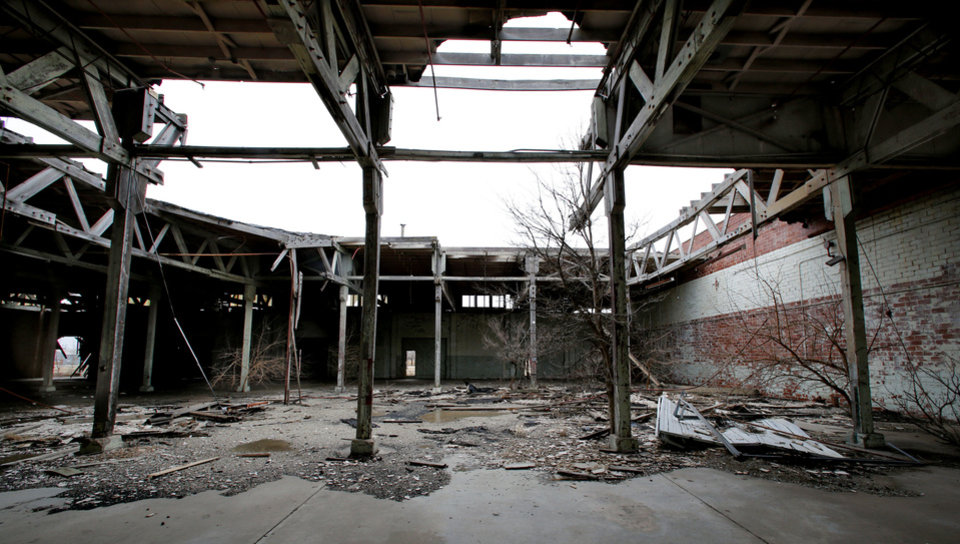 A dilapidated and abandoned Air Force Base warehouse is an eyesore at the Burns Flat spaceport. PHOTO BY STEVE SISNEY, THE OKLAHOMAN <strong>STEVE SISNEY - THE OKLAHOMAN</strong>