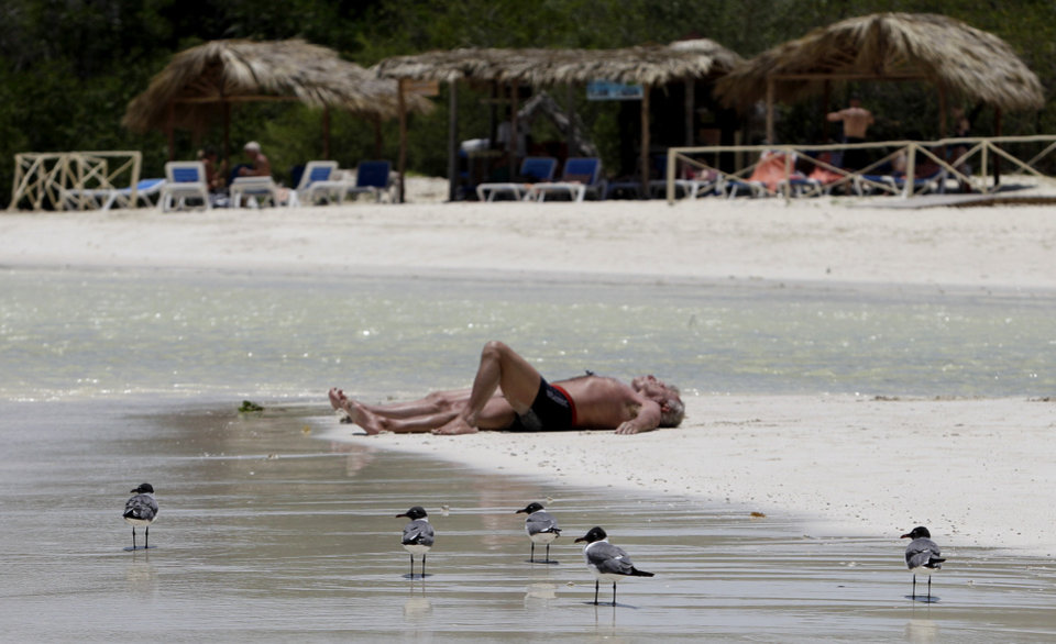 Photo - In this May 20, 2013 photo, sea gulls walk along the beach where tourists sunbathe in Cayo Coco, in Ciego de Avila, Cuba. Cuba has had a coastal protection law on the books since 2000 that prohibits construction on top of sand and mandates a buffer zone from dunes, but serious enforcement only began in earnest in recent months.  (AP Photo/Franklin Reyes)