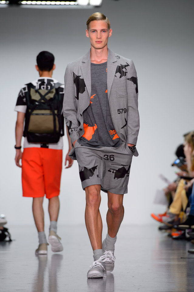 Photo - Models wear designs by Christopher Raeburn during London Collections for Men Spring/Summer 2015, at Victoria House, London, Sunday, June. 15, 2014. (Photo by Jonathan Short/Invision/AP)
