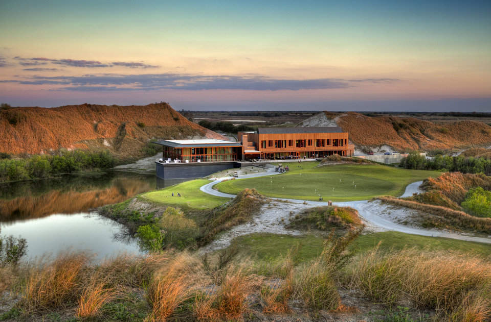 Photo - This 2013 image provided by Streamsong shows the clubhouse at the new Streamsong Resort in central Florida about 50 miles from Tampa. The new 16,000-acre luxury property has edgy modern architecture and two award-winning public golf courses and is located on what was once a phosphate mine.  (AP Photo/Al Hurley/Alfonso Architects/Streamsong)