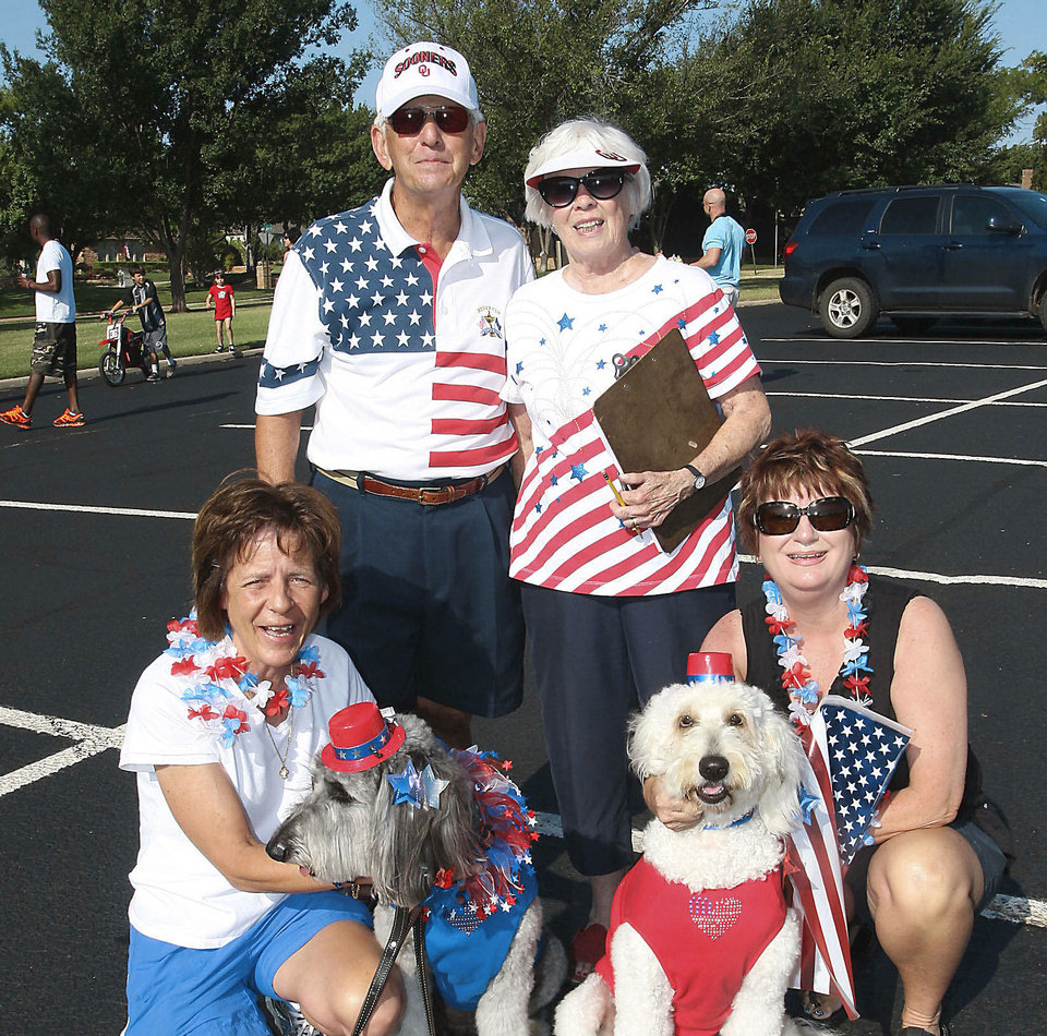 "Photo - Left:  Carrie Caporal with ""Tatum,"" Don and Roberta Carter, Cherri Grube with ""Gabby."""
