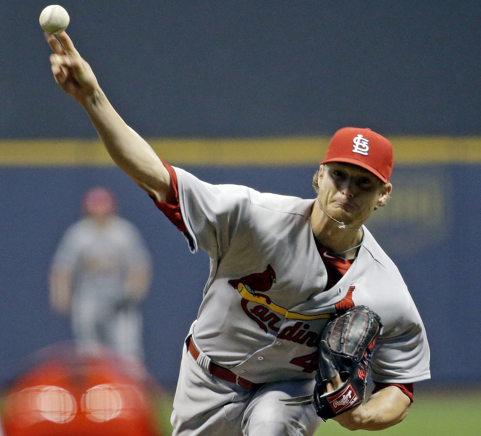Photo - St. Louis Cardinals starting pitcher Shelby Miller throws during the first inning of a baseball game against the Milwaukee Brewers Tuesday, April 15, 2014, in Milwaukee. (AP Photo/Morry Gash)