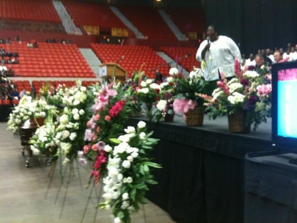 Photo - Flowers at the funeral service for Clara Luper at Cox Convention Center Friday, June 17, 2011. Photo by James Beckel