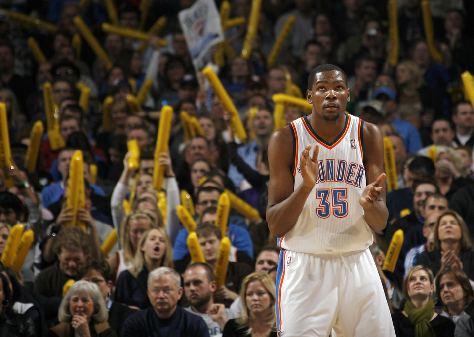 Oklahoma CityÕs Kevin Durant (35) reacts to a play during the NBA basketball game between the Oklahoma City Thunder and the Memphis Grizzlies, Saturday, Jan. 8, 2011, at the Oklahoma City Arena. Photo by Sarah Phipps, The Oklahoman