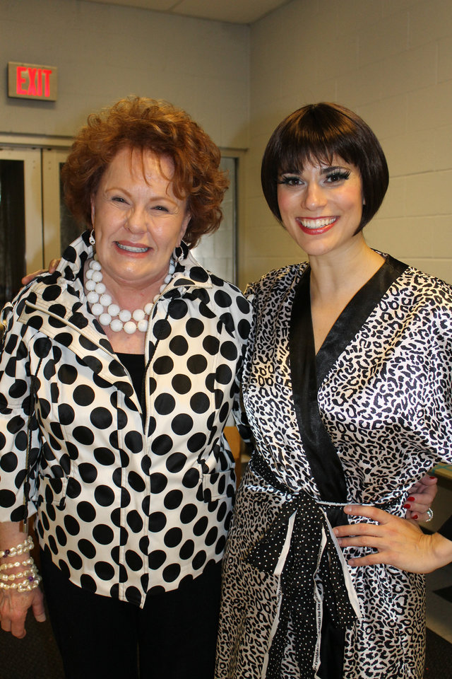 "Bobbie Burbridge Lane poses with actress Milena Govich, who played the lead in Lyric's ""Sweet Charity'' production. Lane, who recently celebrated her 78th birthday, was Lyric's original ""Charity'' in the 1969 production of the show."
