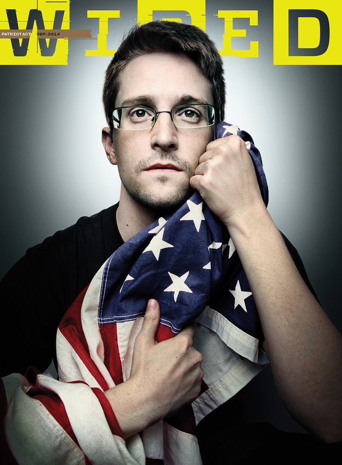 This image provided by Platon/Wired shows the cover of the September 2014 issue of Wired magazine, featuring former National Security Agency contractor Edward Snowden. Snowden gave an exclusive interview with Wired, in the issue scheduled to hit newsstands on Aug. 26, 2014. (AP Photo/Platon/Wired)