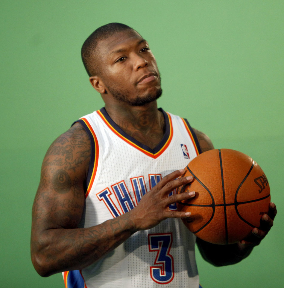 Photo - Oklahoma City's Nate Robinson films video segments at the the Thunder practice facility, Saturday, Feb, 26, 2011, in Oklahoma City.Photo by Sarah Phipps, The Oklahoman