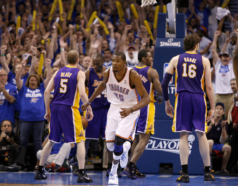 The crowd reacts after Oklahoma City's Kevin Durant (35) made a shot to put the Thunder up in the final seconds of Game 2 in the second round of the NBA playoffs between the Oklahoma City Thunder and L.A. Lakers at Chesapeake Energy Arena in Oklahoma City, Wednesday, May 16, 2012. Photo by Bryan Terry, The Oklahoman
