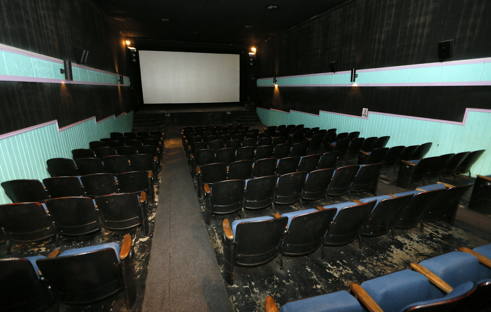 A view of the floor, seats and screen from the back of the Time Theater in Stigler.  Photo s by Nate Billings, The Oklahoman