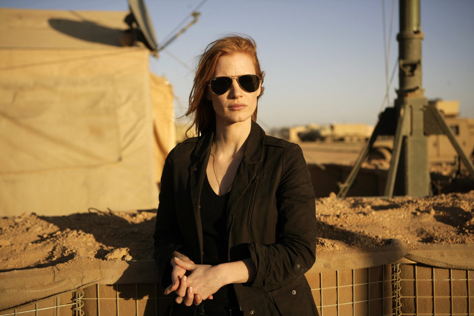 "FILE - This undated publicity film image provided by Columbia Pictures Industries, Inc. shows Jessica Chastain playing a member of the elite team of spies and military operatives stationed in a covert base overseas who secretly devoted themselves to finding Osama Bin Laden in Columbia Pictures' gripping new thriller directed by Kathryn Bigelow, ""Zero Dark Thirty."" (AP Photo/Columbia Pictures Industries, Inc., Jonathan Olley, File)"