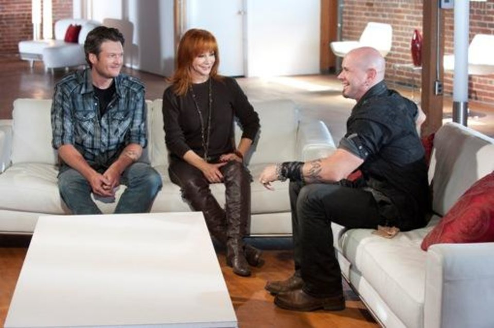 "THE VOICE -- ""Battle Selections"" -- Pictured: (l-r) Blake Shelton, Reba McEntire, Jared Blake -- Photo by: Lewis Jacobs/NBC"
