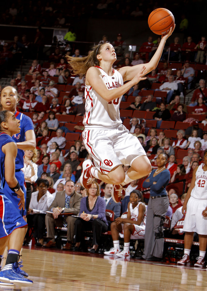 Oklahoma's Morgan Hook (10) shoots during the women's college basketball game between the Oklahoma Sooners and the Kansas Jayhawks at the LLoyd Noble Center in Norman, Okla., Sunday, March, 4, 2011. Photo by Sarah Phipps, The Oklahoman