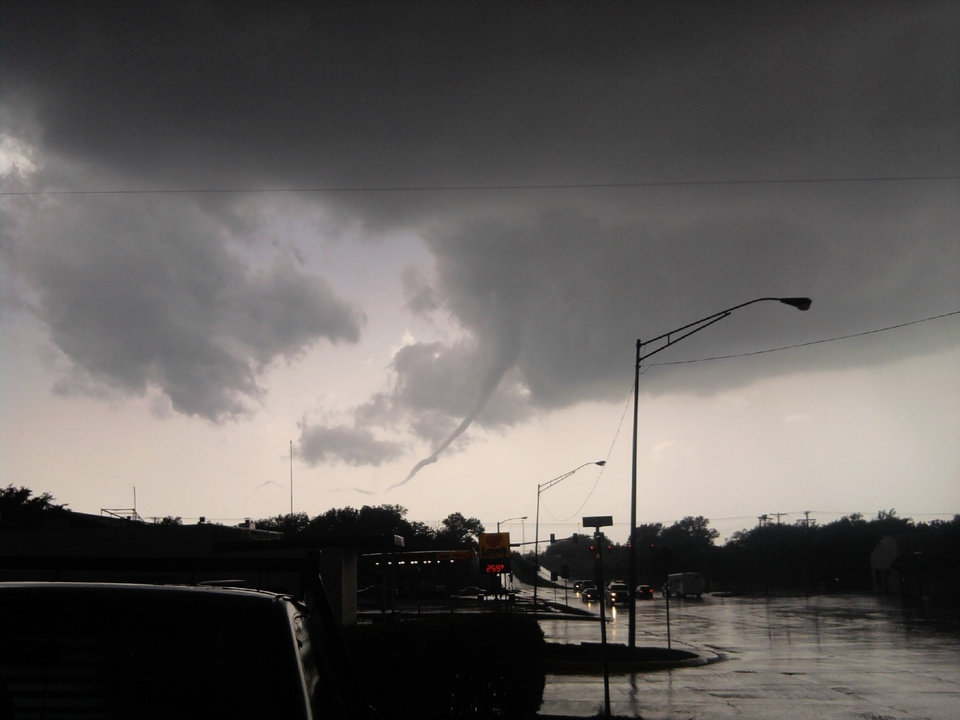 The funnel cloud that formed over Yukjon today is seen in this photo submitted to NewsOK.com by Tia Cypert.