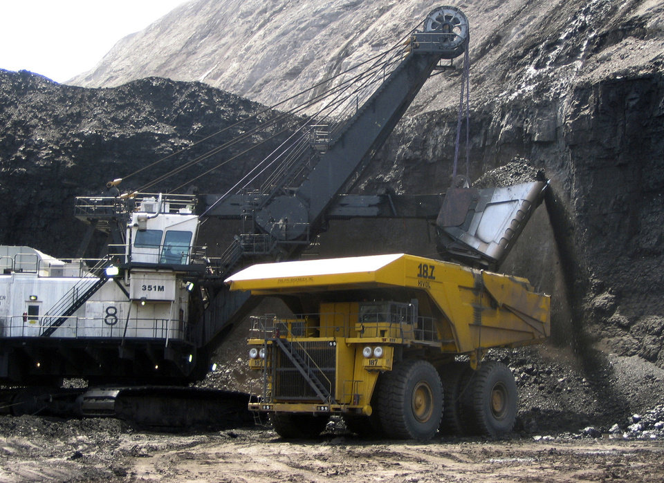 FILE - In this April 2007, file photo, a shovel prepares to dump a load of coal into a 320-ton truck at the Black Thunder Mine in Wright, Wyo. Lawmakers asked the U.S. Department of Interior on Friday, Jan. 4, 2013 to review whether companies are shortchanging federal and state governments out of millions of dollars in royalties on coal exported to foreign markets. A spokesman for Wyoming Gov. Matt Mead, a Republican, said state officials there had seen no evidence that companies had failed to pay their proper royalties. (AP Photo/Matthew Brown, File)