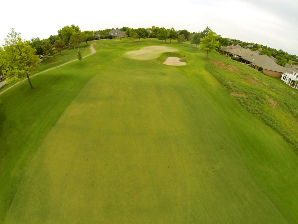 Photo - 1st green. Aerials of Oak Tree National course in Edmond, site of the 2014 U.S. Senior Open, Tuesday, July 1, 2014. Photo by Carl Shortt, Jr., for The Oklahoman