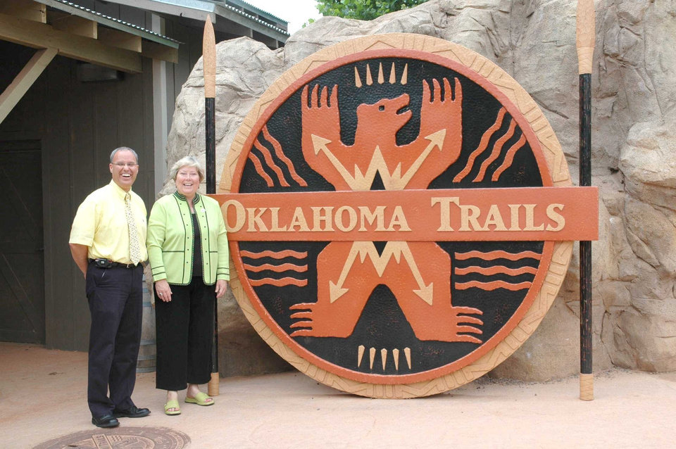 During a visit to Oklahoma City\'s Adventure District on June 25, Lt. Governor Jari Askins explores the wild side of the state as Oklahoma City Zoo Executive Director Bert Castro gives her a tour of the Zoo\'s new native addition, Oklahoma Trails. Community Photo By: Tara Henson Submitted By: Mary, Oklahoma City