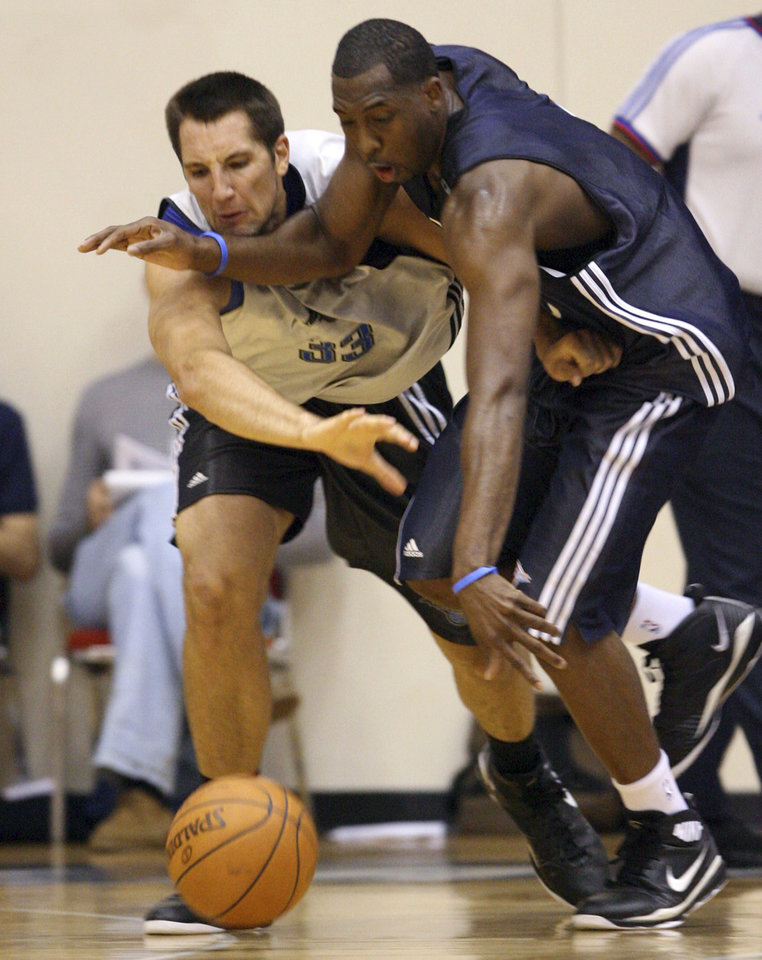 Photo - OKLAHOMA CITY THUNDER NBA BASKETBALL: Orlando Magic forward Ryan Anderson (33) battles with Oklahoma City forward D.J. White for a loose ball during an NBA Summer League basketball game at RDV Sportsplex in Maitland, Fla. on Monday, July 6, 2009.   (AP Photo/Orlando Sentinel, Gary W. Green)  ** LEESBURG OUT, LADY LAKE OUT, TV OUT, MAGS OUT, NO SALES ** ORG XMIT: FLORL201