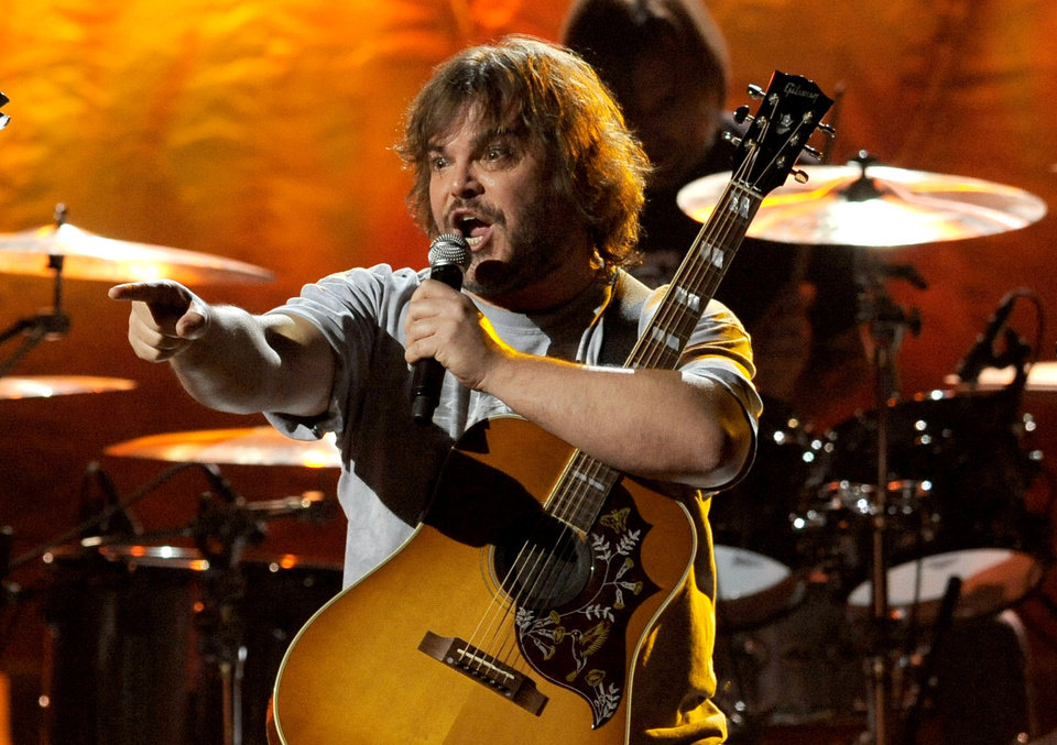 "Photo - FILE - In this Dec. 7, 2012 file photo, Jack Black, of the musical group Tenacious D, performs on stage at Spike's 10th Annual Video Game Awards at Sony Studios in Culver City, Calif. Spike is dispensing with all the trappings of a typical award show for its 11th annual ceremony honoring the year's best video games by doing away with the ceremony part altogether, instead opting for a live-streaming affair with a focus on upcoming games. Nominees include, ""BioShock Infinite,"