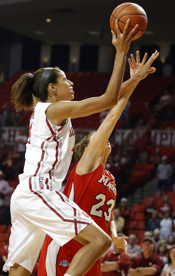Oklahoma's Nicole Griffin (4) shoots a lay up as Marist's Elizabeth Beynnon (23) defends during the women's college basketball game between the University of Oklahoma and Marist at Lloyd Noble Center in Norman, Okla.,  Sunday,Dec. 2, 2012. Photo by Sarah Phipps, The Oklahoman