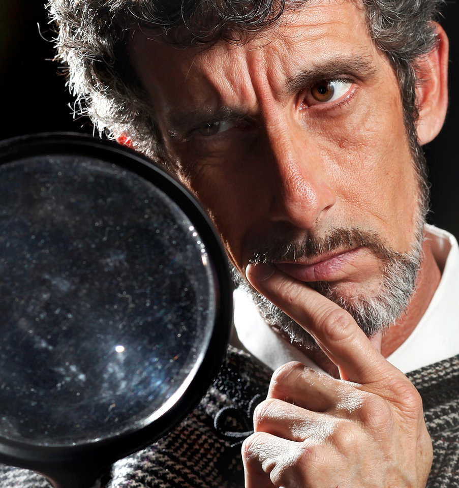 Don Taylor play Sherlock Holmes in this publicity photo for Jewel Box Theatre\'s production,