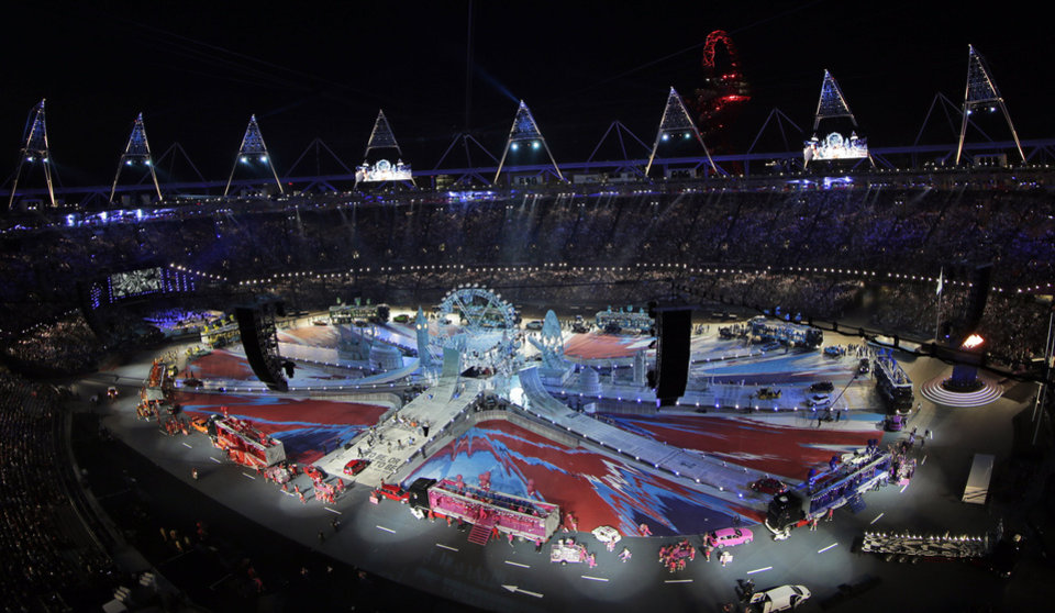 Photo -   The Olympic Stadium is shown during the Closing Ceremony at the 2012 Summer Olympics, Sunday, Aug. 12, 2012, in London. (AP Photo/David J. Phillip)