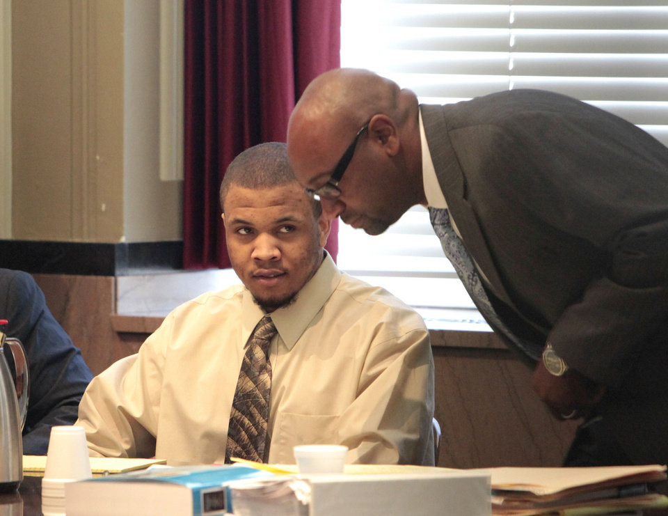 Photo - Darrin Paul Burton Jr., left, is on trial for murder at the Oklahoma County Courthouse. Photo By David McDaniel, The Oklahoman  David McDaniel