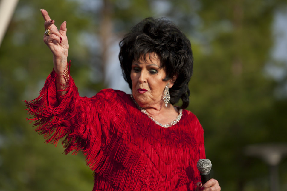 Photo -  Wanda Jackson performs live at 2014's OKCFest in downtown Oklahoma City. [Photo by Nathan Poppe, The Oklahoman]